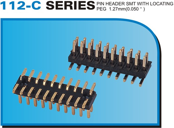 "112-C SERIES PIN HEADER SMT WITH LOCATING PEG 1.27mm(0.050"")"