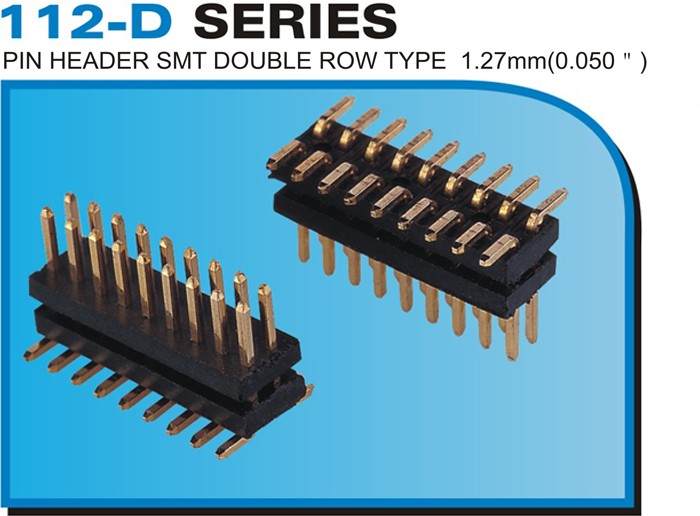 "112-D SERIES PIN HEADER SMT DOUBLE ROW TYPE 1.27mm(0.050"")"